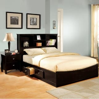 Furniture Of America Elisandre Espresso 2 Piece Bookcase Headboard Bed With Nightstand Set