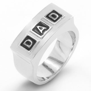 "Men's Polished Stainless Steel Embossed """"DAD"""" Band Ring - 10mm Wide - White"