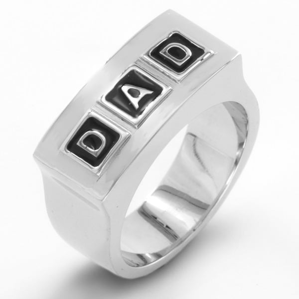 Mens Polished Stainless Steel Embossed DAD Band Ring