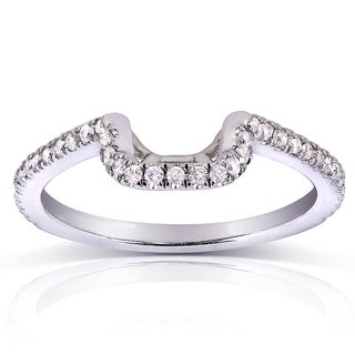 Annello by Kobelli 14k White Gold 1/5ct TDW Ladies Contoured Diamond Wedding Band