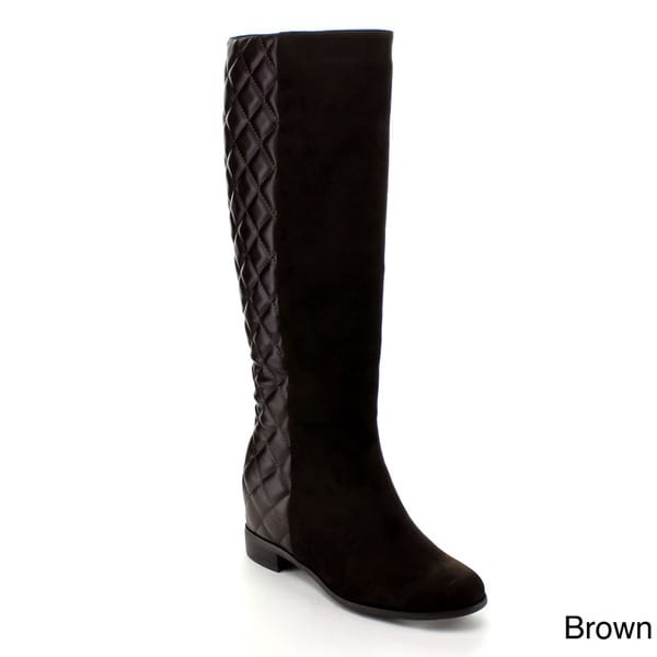 56a4aa9f89b Shop Via Pinky Women s  Chloe-22  Over-the-Knee Quilted Riding Boots ...