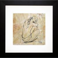 Patricia Pinto 'Nude Sketch on Beige I' Framed Art Print - Brown