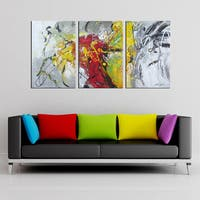 Hand-painted 'Abstract536' 3-piece Gallery-wrapped Canvas Art Set