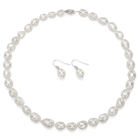 DaVonna Sterling Silver White Baroque Pearl Necklace Earring Jewelry Set (10 - 11mm)