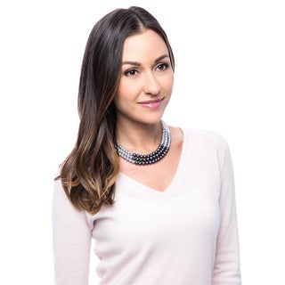 DaVonna Sterling Silver 3-row White, Black, and Grey Fade Freshwater Pearl Necklace (6-8 mm)