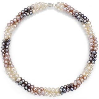 DaVonna Sterling Silver White Pink and Grey Twisted Pearl Necklace (5-6 mm)