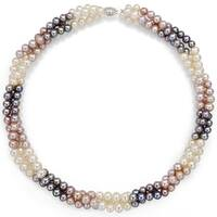 """DaVonna Sterling Silver 5-6mm White Pink Grey Multicolor Freshwater Pearl Twisted 3rows Choker Necklace, 16"""""""