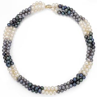 DaVonna Sterling Silver Black White and Grey Twisted Pearl Necklace (5-6 mm)