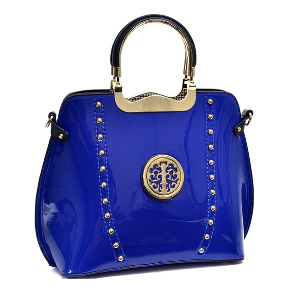 Dasein Patent Studded Flat-bottom Bag