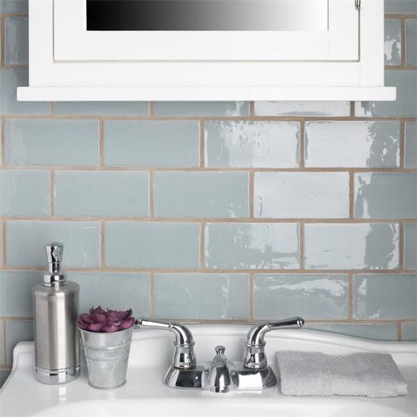 Shop Somertile 3x6 Inch Gloucester Acqua Ceramic Wall Tile