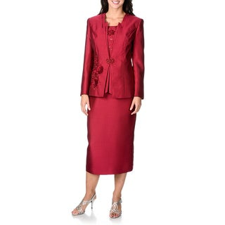 Giovanna Collection Women's Flower and Bead-detailed 3-piece Skirt Suit