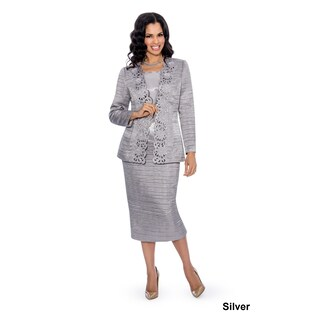 Giovanna Collection Women's Pleated Texture Laser-cut 3-piece Suit (Option: Silver-10)