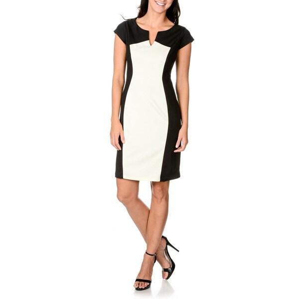 S.L. Fashions Women's Black and White Ponte Sheath Dress