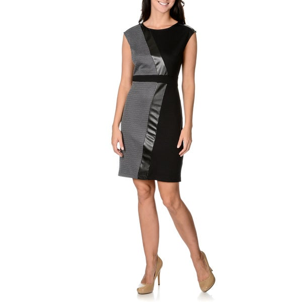S.L. Fashions Women's Black and Grey Mixed Media Shift Dress