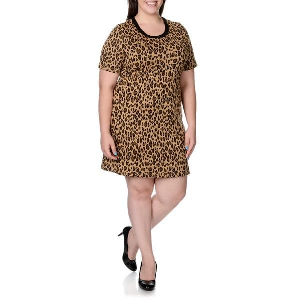 Lennie for Nina Leonard Womens Plus Animal Print Sweater Dress