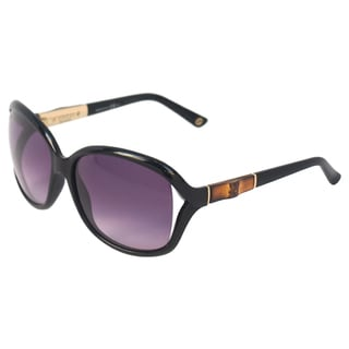 Gucci Women's 'GG 3671/S 6UBEU' Shiny Black/ Gold Sunglasses