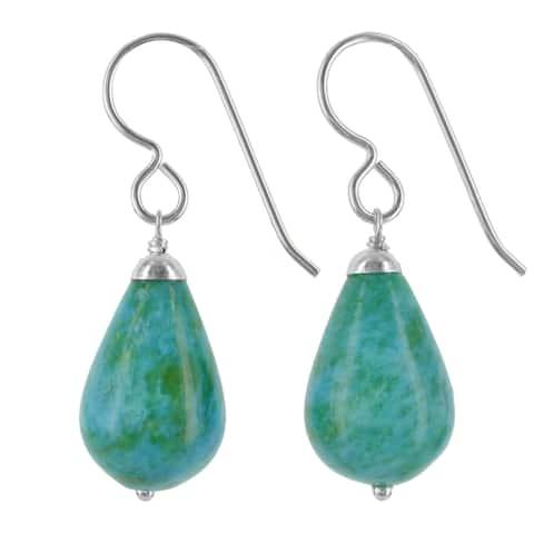 Aqua Blue Green Ocean Jasper Gemstone Silver Handmade Earrings