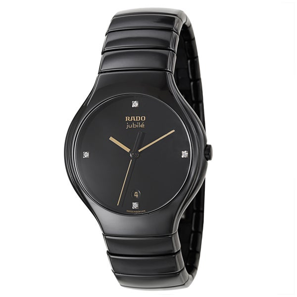 99e97fc5bd1 Shop Rado Men s  Rado True Jubile  Black Ceramic Swiss Quartz Watch ...