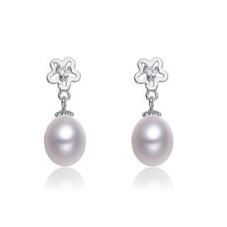 Collette Z Sterling Silver Cubic Zirconia White Freshwater Pearl Dangling Earrings (7.5-9 mm)