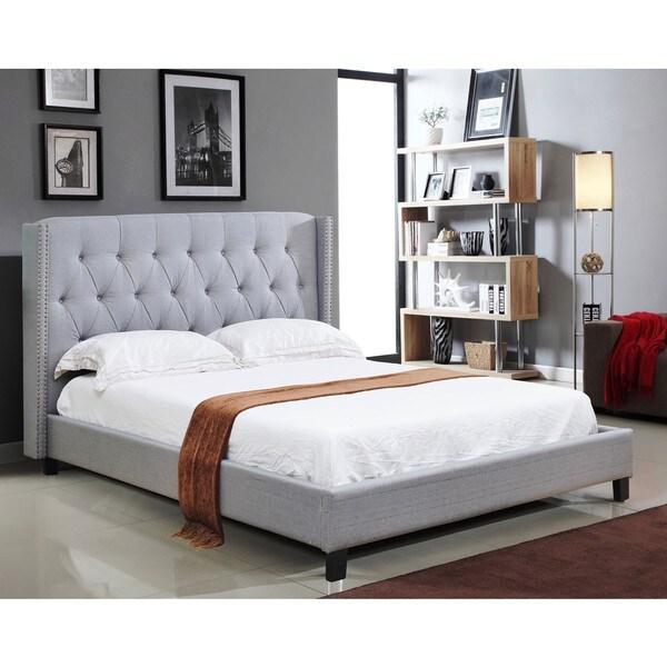 abbyson madison grey linen nailhead trim wingback bed - free
