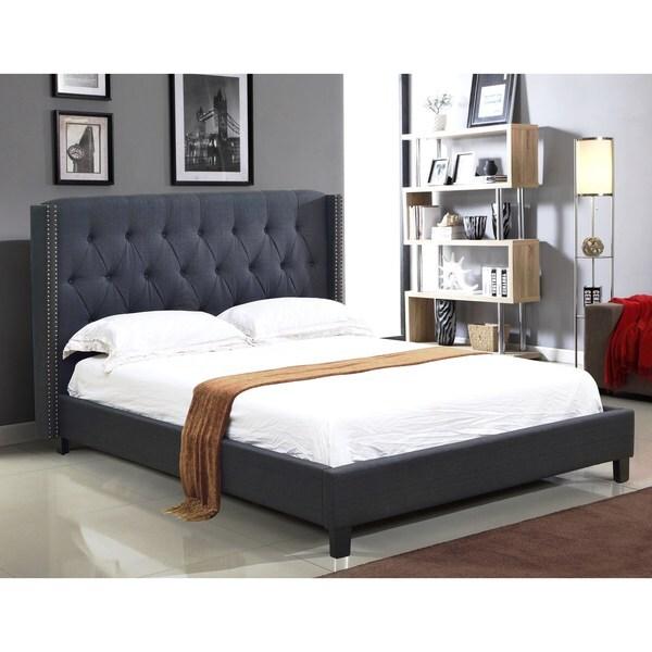Abbyson Madison Charcoal Linen Nailhead Trim Wingback Bed