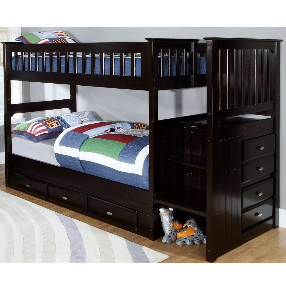 American Espresso (Brown) Staircase Bunk Bed with Seven (...