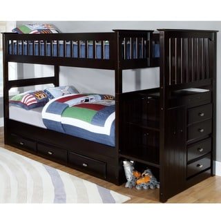 Espresso Staircase Bunk Bed with Seven (7) Drawers