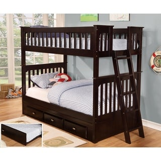 Twin Over Twin Bunk Bed with Three (3) Drawers