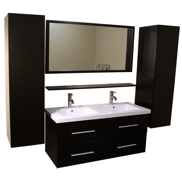 Shop Kokols Double Vanity Cabinet With Side Cabinets And Mirror Faucets Overstock 9245983