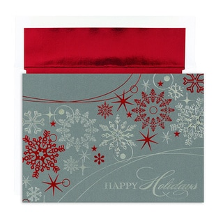 Shimmer Snowflakes Boxed Holiday Cards