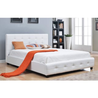Abbyson Montego White Tufted Bonded Leather Platform Bed