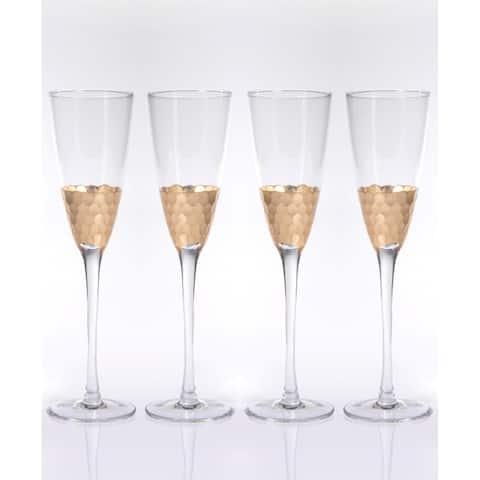 """Vitorrio"" Flutes Champagne Glass, Gold (Set of 4)"