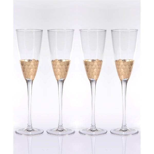 """Vitorrio"" Flutes Champagne Glass, Gold (Set of 4)"