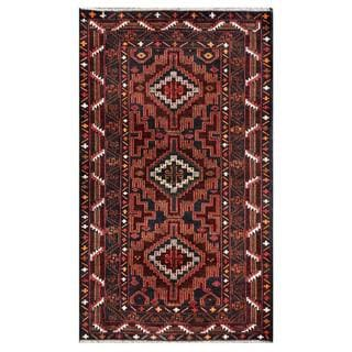 Herat Oriental Semi-antique Afghan Hand-knotted Tribal Balouchi Navy/ Red Wool Rug (3'7 x 6'1)