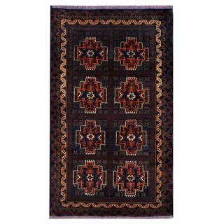 Herat Oriental Semi-antique Afghan Hand-knotted Tribal Balouchi Navy/ Brown Wool Rug (3'8 x 6'5)