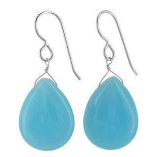 Ashanti Sterling Silver Turquoise Jade Briolette Gemstone Handmade Earrings (Sri Lanka)
