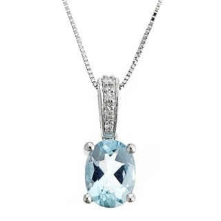 D'yach 14k White Gold Oval-cut Brazilian Aquamarine and Diamond Accent Pendant Necklace