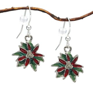 Handmade Jewelry by Dawn Holiday Poinsettia Dangle Earrings (USA)
