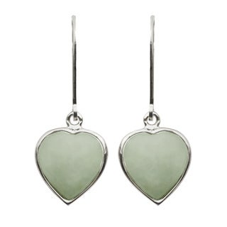 Gems For You Sterling Silver Jade Heart Earrings