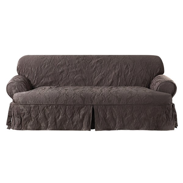 Sure Fit Matelasse Damask Espresso T-cushion Sofa Slipcover