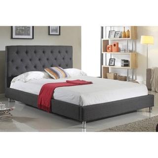 ABBYSON LIVING Newport Charcoal Tufted Linen Platform Bed