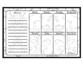 Grey Damask Magnetic Dry Erase Weekly Calendar