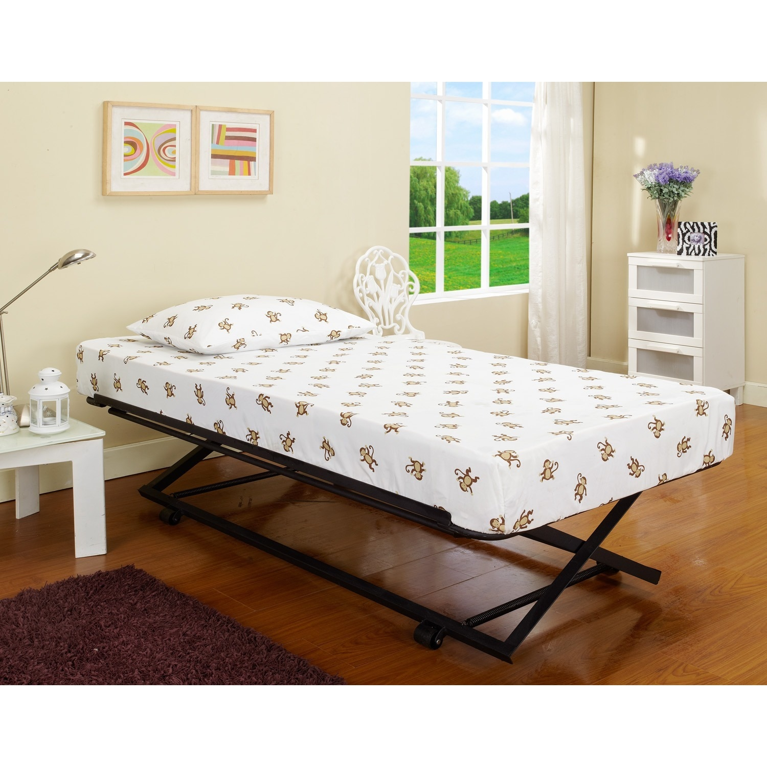 Roll Out Pop Up Steel Trundle Twin Bed