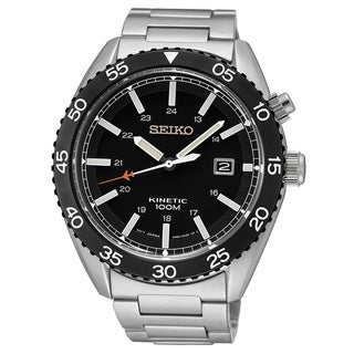 Seiko Men's SKA617P1 Kinetic Black Stainless Steel Watch