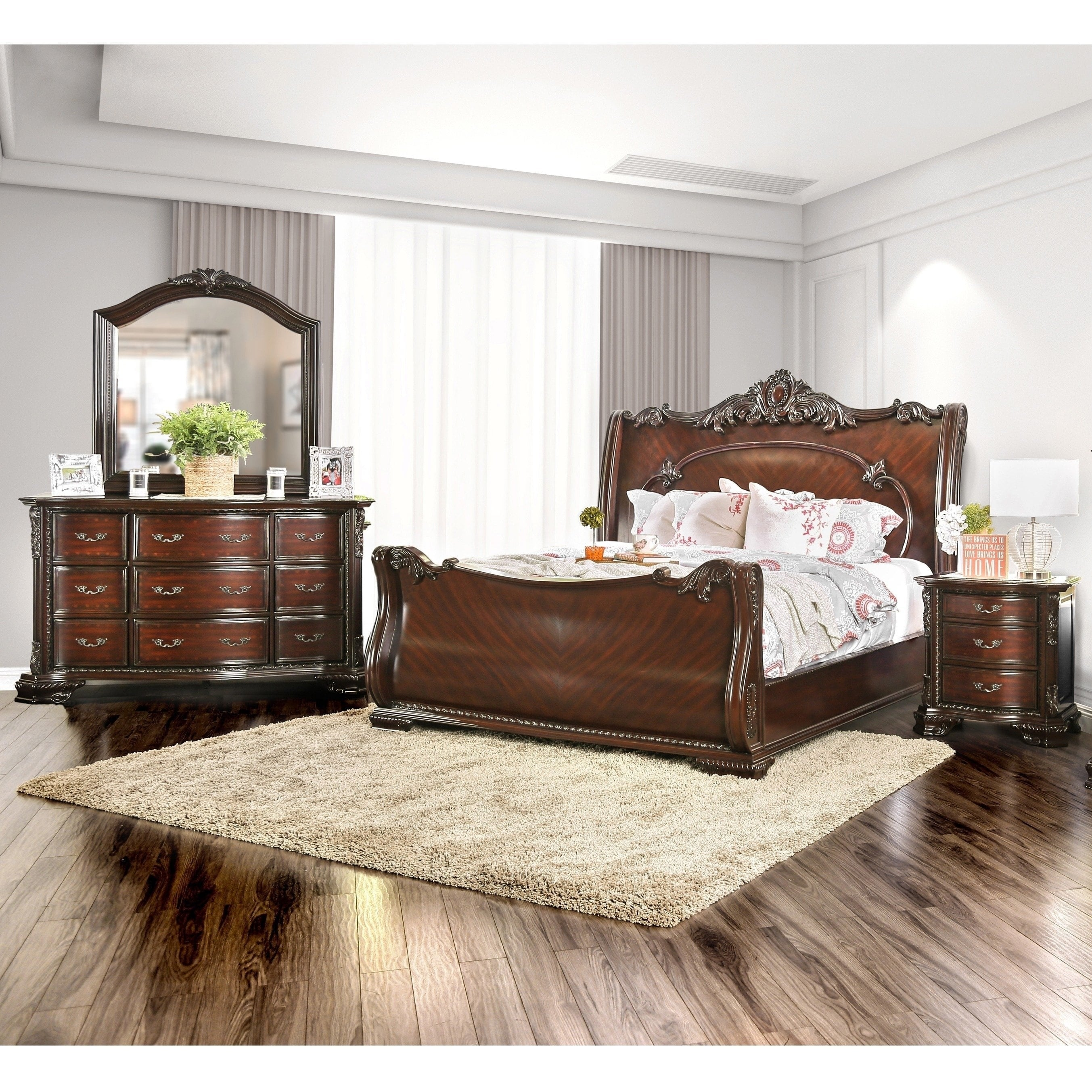 Excellent Luxury Traditional Brown Cherry 4 Piece Bedroom Set By Foa Home Interior And Landscaping Spoatsignezvosmurscom
