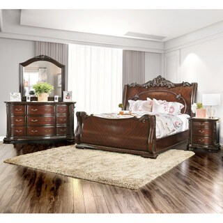 Furniture of America Luxury Brown Cherry 4-Piece Baroque Style Bedroom Set