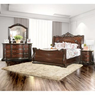cherry bedroom set. Furniture of America Luxury Brown Cherry 4 Piece Baroque Style Bedroom Set Finish Sets For Less  Overstock com