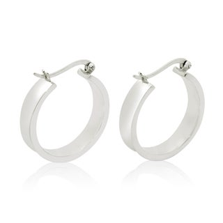 Gioelli Sterling Silver High Polished Concave Hoop Earrings