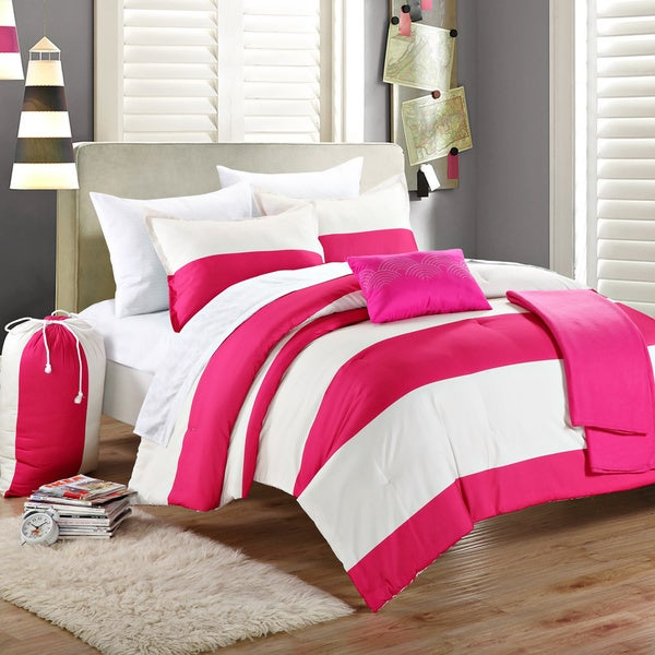 Shop Chic Home Ruby Pink Ivory Striped 9 Piece Dorm Room