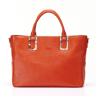 Wa Obi 'Cathy' Orange Leather Carryall Satchel
